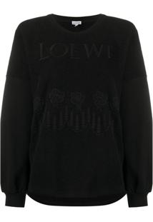 Loewe Camiseta French Com Logo Bordado - Preto