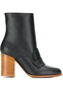 Loewe Brogue Detail Ankle Boots - Preto
