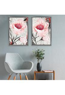 Quadro Com Moldura Chanfrada Floral Rosa Grafitti Metalizado - Mã©Dio - Multicolorido - Dafiti