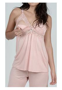 Pijama Curto Amamentação Com Renda Maví (Am-Sd205) Bermudoll
