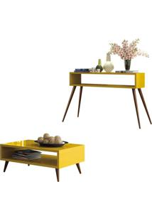 Mesa De Centro Lucy E Aparador Quad Com Pés Palito Amarelo - Hb Móveis