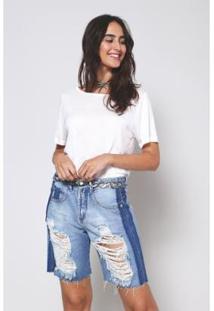 Bermuda Jeans Oh, Boy! Lateral Feminina - Feminino-Azul