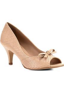 Peep Toe Shoestock Snake Laço - Feminino-Nude