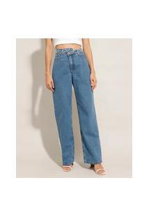 Calça Reta Loose Jeans Cós Transpassado Cintura Super Alta Mindset Azul Claro