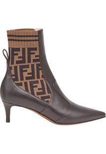 Fendi Ankle Boot 'Rockoko' De Couro - Marrom