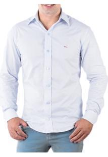 Camisa Pazan Slim Fit Premium Estampada Manga Longa Azul Claro