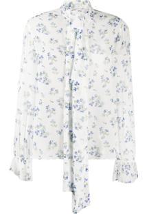 Be Blumarine Blusa Floral Com Laço Na Gola - Branco