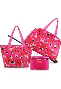 Kit Mala E Bolsa Jacki Design Poliéster C/ 3 Peças - Feminino-Pink