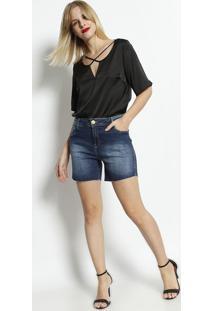 Bermuda Jeans Com Bolsos- Azul Escurodimy