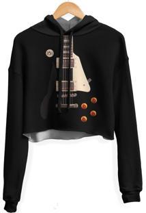 Blusa Cropped Moletom Feminina Guitarra Les Paul Md01 - Preto - Feminino - Poliã©Ster - Dafiti