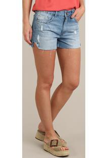 Short Jeans Feminino Vintage Com Rasgos Azul Claro