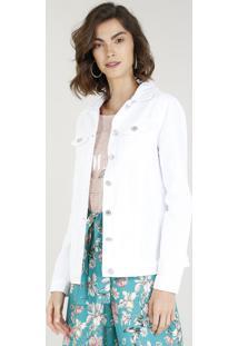 Jaqueta De Sarja Feminina Alongada Com Bolsos Branca