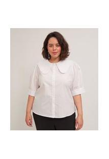 Blusa Em Tricoline Gola Boneca Curve & Plus Size Branco