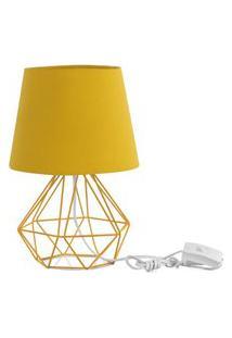 Abajur Diamante Dome Amarelo Mostarda Com Aramado Amarelo