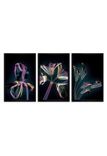 Quadro Oppen House 60X120Cm Flores Abstrato Transparentes Moldura Preta Estilo Raio X Decorativo Interiores Mod:Oh007