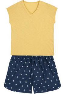 Pijama Em Malha De Algodão Com Regata E Shorts Estampado Em Outros Tamanhos