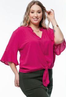 Blusa Plus Size Rosa Com Amarração Na Frente