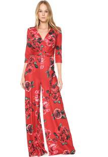 Macacão Lança Perfume Pantalona Floral Vermelho
