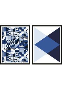 Quadro Oppen House 67X100Cm Formas Geométricas Liberté Azul Moldura Preta Sem Vidro