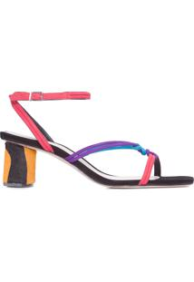 Sandália Feminina Block Heel Zebra Strings Colors - Preto
