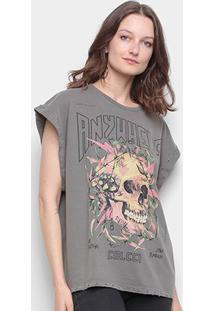 Camiseta Colcci Caveira Sleeveless Feminina - Feminino-Cinza