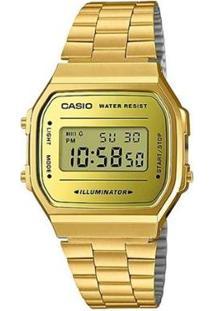 Relógio Casio Unisex Vintage - Feminino-Dourado