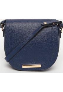 Bolsa Transversal Em Couro - Azul Marinho- 17X18X6Cmjorge Bischoff