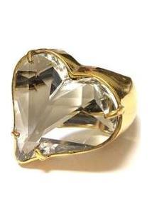 Brinco Armazem Rr Bijoux Coração Cristal Swarovski - Feminino-Dourado