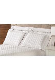 Fronha Para Travesseiro Plumasul Em Percal Matelassê Com Abas 200 Fios 50 X 90 Cm – Branca/Vermelha