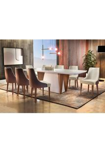 Conjunto De Mesa De Jantar Belíssima Com 8 Cadeiras Esmeralda Veludo Off White