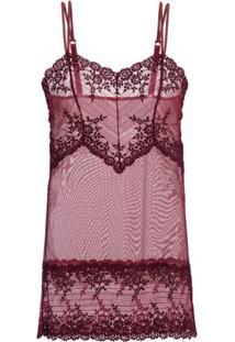 Camisola Curta Renda Embrace Lace Loungerie - Vinho