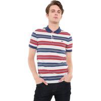 Camisa Polo Lacoste Reta Listras Branca Vermelha 303ce0ada4257