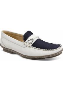 0010b87f7e ... Sapato Masculino Loafer Sandro Moscoloni New Picasso Branco Azul