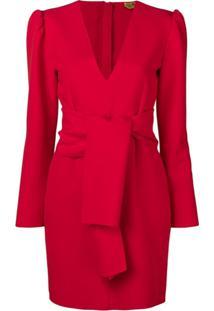 Msgm Vestido Com Gola V - Vermelho