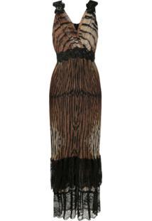 Tig Vestido Longo Gianna Plissado - Estampado