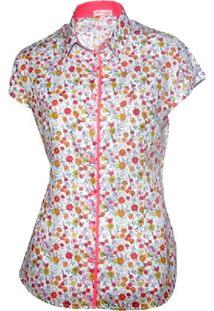 Camisa Pimenta Rosada Eugénie Floral - Feminino-Branco+Salmão
