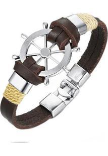 Bracelete Artestore Em Couro Pulseira Corda Timão Masculina - Masculino-Marrom
