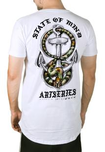 Camiseta Artseries Longline Ancora Com Cobra Costas