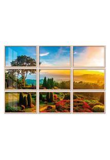 Quadro 180X270Cm Painel Jardim De Flores Pôr Do Sol Moldura Natural Com Vidro
