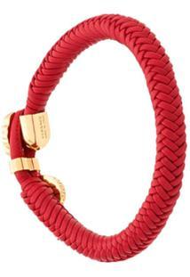 Versace Pulseira 'Medusa' De Couro Trançado - Vermelho