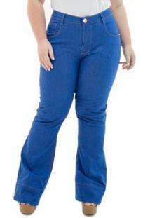 Calça Jeans Feminina Confidencial Extra Flare Missy Plus Size - Feminino-Azul