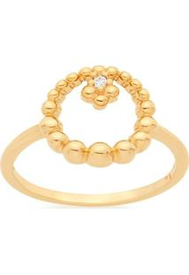 Anel Skinny Ring Vazado Com Esferas E Zircônia Rommanel - Feminino-Dourado
