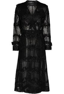 Simone Rocha Trench Coat Translúcido Com Bordado - Preto