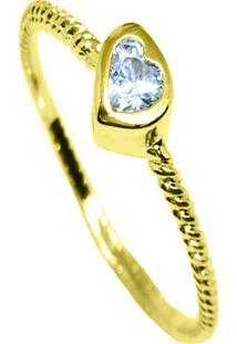 8076ebf58 ... Anel Kumbayá Solitário Coração Semijoia Banho De Ouro 18K Cravação De Zircônia  Aro Trançado