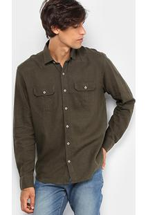 Camisa Foxton Linho Bolsos Masculina - Masculino-Verde Militar
