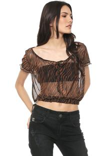Blusa Fiveblu Tule Tigre Caramelo/Preta