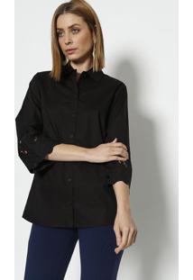 Camisa Com Bordados Aplicados- Preta - ÊNfaseãŠNfase