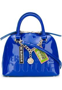Versace Jeans Couture Embossed Patent-Leather Tote Bag - Azul