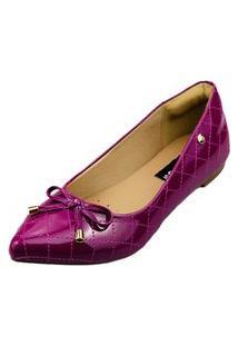 Sapatilha Bico Fino Love Shoes Matelasse Laçinho Verniz Vinho