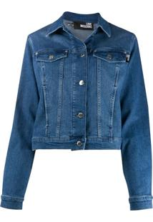 Love Moschino Rear Logo Print Studded Detail Jacket - Azul